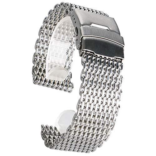 DFKai1run Correa de Acero Inoxidable, 18/20/22 / 24mm Reemplazo De Malla De Acero Inoxidable Relojes De Pulsera Venda De La Correa De La Pulsera Deportes de Moda (Color : Silver, Size : 22mm)