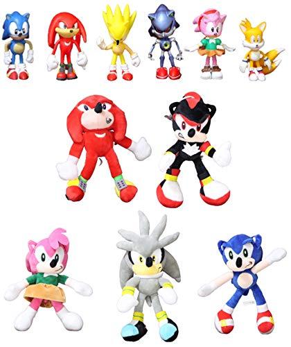 Juguetes Sonic 10 Estilos Sonic Toys 19-31cm Sonic Shadow Amy Rose Knuckles Tails Peluches Peluches de Peluche Suave Regalo para la Navidad de los niños