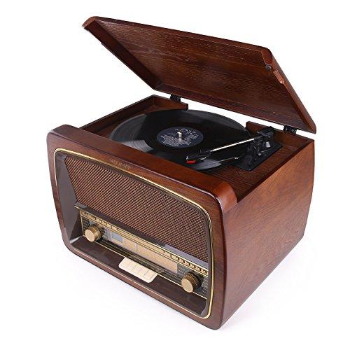 HOVAMP MT-02 -Gramófono Bluetooth de Madera Tocadiscos - Función Encoding, radio FM / AM, USB / CD,Potencia de 19 vatio,pantalla de LED