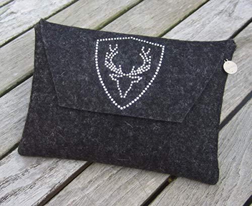 zigbaxx Dirndl-Bag PLATZHIRSCH/Trachtentasche, Gürteltasche, Tasche, Dirndl-Tasche aus Woll-Filz mit Hirsch aus Strass & Studs, grau anthrazit-schwarz pink beige braun- Geschenk Jägerin Weihnachten
