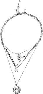 Dtja Vintage Hip Hop Necklaces Set for Women Men 3 PCS Alloy Layered Coin Safety Pin Texture Medallion Pendant Choker Neck...