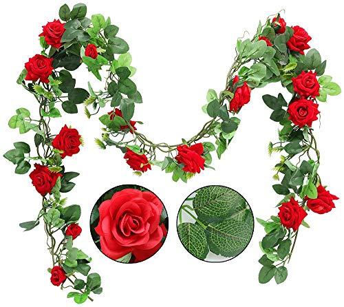 Shiwaki 2PCS 95cm / 37inch Guirnalda de Flores de Rosas Artificiales para Colgar Enredadera de Vid de Seda Floral Enredadera para el hogar Arco de Boda Decoraciones para Paquete de 2 (Rosa ROJ