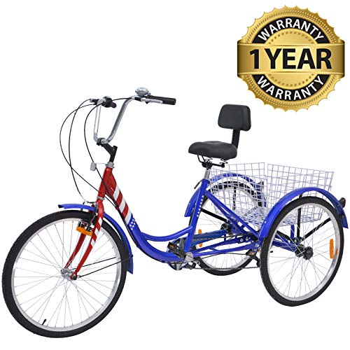 "Slsy Adult Tricycles 7 Speed, Adult Trikes 24/26 inch 3 Wheel Bikes, Three-Wheeled Bicycles Cruise Trike with Shopping Basket for Seniors, Women, Men. (Star Strip, 24"" Wheels/ 7-Speed)"