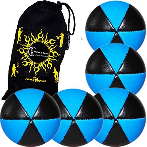 5 Balles de Jonglage Astrix UV - Pro Jonglerie Beanbag Jonglage Balles Leather + Sac de Transport. (Noir/UV Bleu)