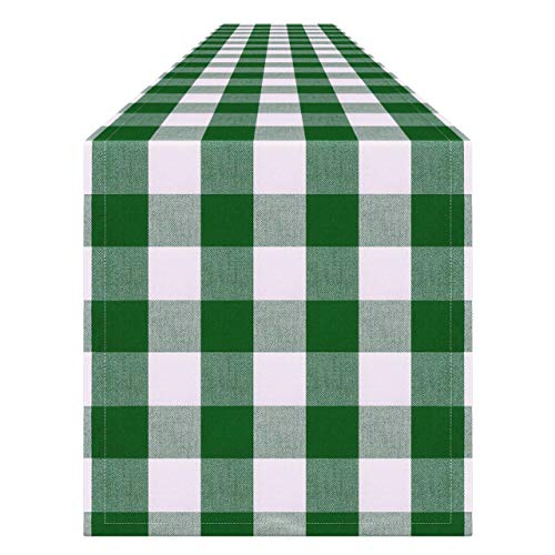 Syntus 14 x 108 inch Buffalo Check Table Runner Cotton-Polyester Blend Handmade Green and White Plaid for St. Patrick's Day Party Decoration, Outdoor or Indoor Parties, Thanksgiving & Gathering