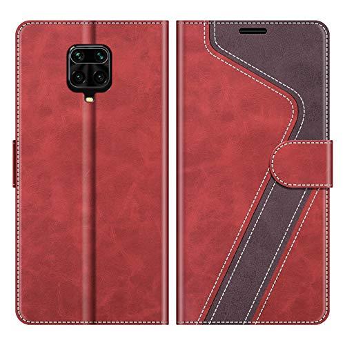 MOBESV Handyhülle für Xiaomi Redmi Note 9 Pro Hülle Leder, Xiaomi Redmi Note 9S Klapphülle Handytasche Hülle für Xiaomi Redmi Note 9 Pro/Redmi Note 9S Handy Hüllen, Modisch Rot