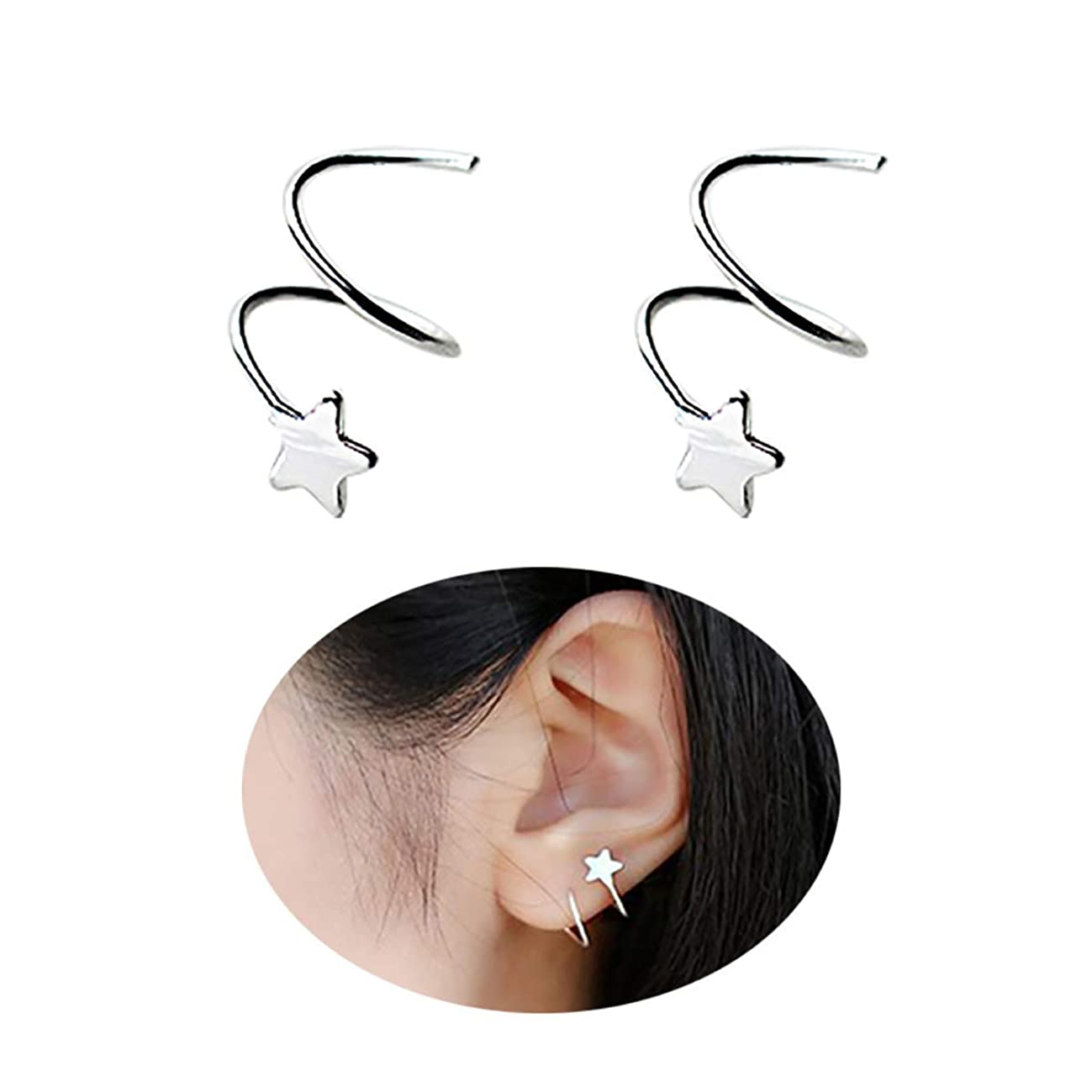 MVCOLEDY 925 Sterling Silver Star Earrings for Women Teen Girls Fashion Wrap Earrings