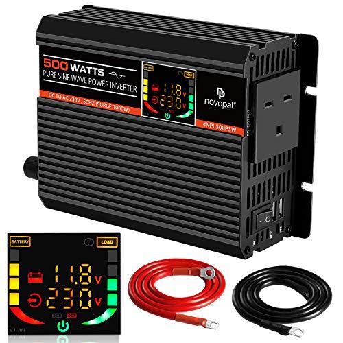 Inversor de Corriente Pure Sine Wave, 500 W, 12 V CC a 230 V/240 V CA, convertidor de...