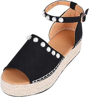 88f5698aeb27ec Vertvie Femme Sandales Compensées Bout Ouvert Chaussures Été Imprimé  Léopard Plateforme Lanière Cheville Boucle Tongs Mode