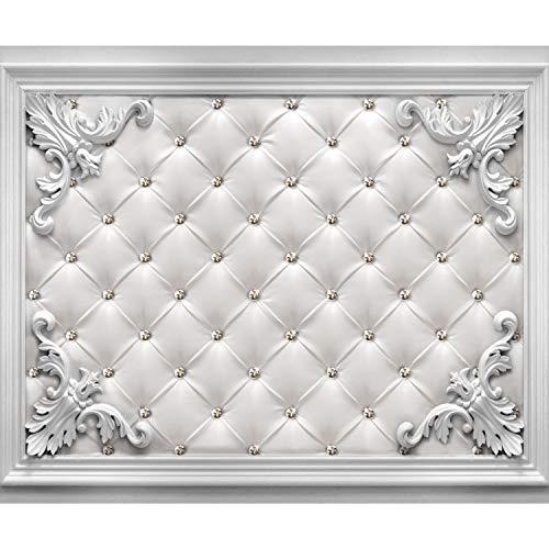 decomonkey Fototapete Leder Delux 400x280 cm XL Tapete Fototapeten Vlies Tapeten Vliestapete Wandtapete moderne Wandbild Wand Schlafzimmer Wohnzimmer Diamant Ornament Textur