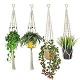 Colgador de Plantas, 4 Unidades Macetas Macrame Plantas, Soporte para Macetas de Flores de Algodón para Colgar...