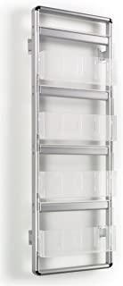 Wall Rack 19-1/2 x 55 x 5 Inch Brushed Silver Aluminum Frame with Clear Acrylic Pockets Literature Holder – Mounting Magazine Display Offers Four Rungs