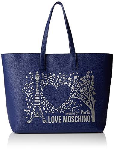 Love Moschino Damen Pu Tote, Blau (Blu), 15x10x15 centimeters