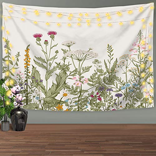 Nidoul Nature Wall Tapestry|Colorful Floral Plants Tapestry Wall Hanging|Wild Flowers Herbs Tapestry|Wall Art Decoration for Bedroom Living Room Dorm, 59