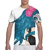Bikofhd Camisetas de Secado rápido para Deportes Activos de Flores mexicanas de Calavera de azúcar para Maquillaje de niña