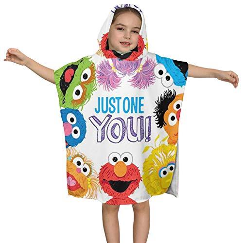 Stars.YingJ Coo-Kie El-Mo Mon-Ster Baby Kids Hooded Fluffy Bath Towel Microfiber Summer Beach Poncho Cape Towel Wrap Robe Cloak for Children 2 to 7 Years