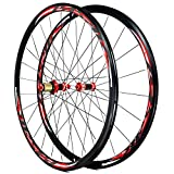 ZNND Fibra Carbon 700C Bicicleta Carretera Juego Ruedas Freno C/V Cubo Rueda Trasera Delantera Bici 30mm Llanta Aleación Doble Pared for 7 8 9 10 11 Volante (Color : Red Hub Red Logo)