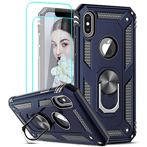 LeYi Compatible for iPhone X Case, iPhone Xs Case with Tempered Glass Screen Protector [2Pack] for Women Men, [Military-Grade] Phone Case with Ring Kickstand for iPhone X/Xs/ 10, Blue