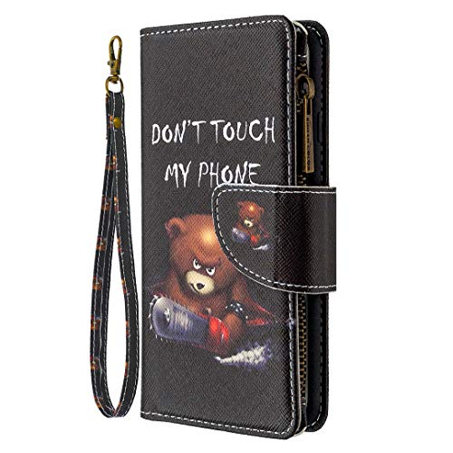 Trugox Wallet Case for Samsung Galaxy A21 with Card Holder Hand Strap Zipper Pocket Stand Flip Cover Women Leather Phone Case for Galaxy A21 - Little Bear