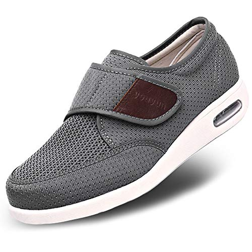 MediFeet Men's Adjustable Diabetic Walking Shoes Air Cushion Breathable Mesh Lightweight Elderly Outdoor Sneakers for Edema Swollen Feet