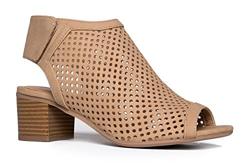 J. Adams Maddie Cutout Bootie - Adjustable Band Slip On Low Stacked Heel Shoes, Natural Nbpu, 8