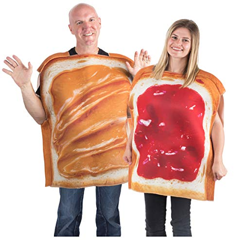 Tigerdoe Peanut Butter & Jelly Costume Set - Couples Costumes - Food Costumes - Costumes for Adults - 2 Pk (PB&J Couples Costume) Brown