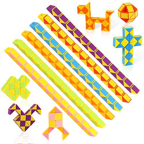 O-Kinee Würfel Spielzeug 12 Stücke 24 Blöcke Magische Geschwindigkeit Würfel Schlange Würfel Magische Schlangen Würfel 3D IQ Spielzeug - für Kinder und Erwachsene (12 Stücke-a)