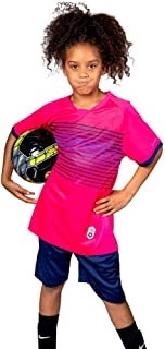 Premium Boys' Soccer Jerseys Sports Team Training Uniform | Age 4-12 |Sports Shirts and Short Set | Boys-Girls-Youth, Striped