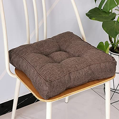 Eogrokerr Cojín de algodón suave para el suelo, cojín de relleno de algodón grueso, cojín cuadrado para silla de jardín al aire libre para sillones, silla de comedor (chocolate, 45 x 45 – 1 unidad)