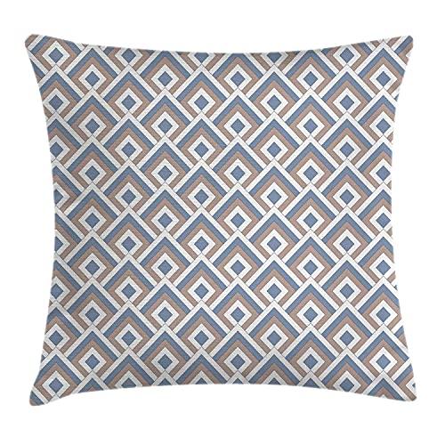 Funda de cojín geométrica, patrón clásico repetido de cuadrados anidados diagonales modernos, funda de almohada cuadrada decorativa, 45,72 x 45,72 cm, color azul pizarra, blanco