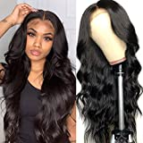 Lace Front Wigs Human Hair Body Wave Wigs, 4x4 Brazilian Body Wave Human Hair Wigs for Woman Pre Plucked, Human Hair lace Closure Wigs with Baby Hair, Natural Color 22 Inch