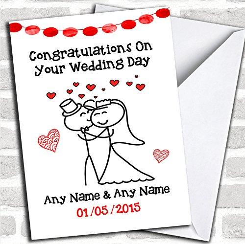 Doodle schattig knuffelen paar bruiloft kaart met envelop, kan volledig worden gepersonaliseerd, verzonden snel en gratis