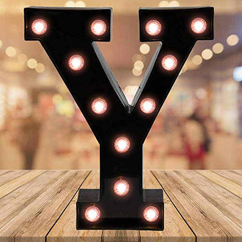 Light up Black Alphabet Marquee Letters Sign LED Letter Lights for Home Bar Festival Birthday Party Wedding Decorative (Black Letter Y)