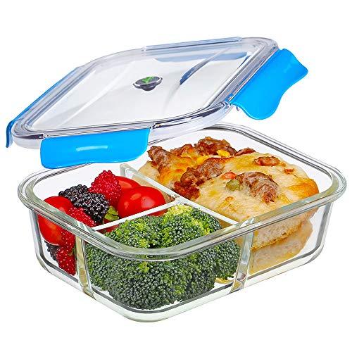 1,04 Litre 3-Compartiments Boîtes Alimentaires Verre Boîtes de Conservation Hermétiques Récipients Alimentaires avec Couvercle, 100% Sans BPA Étanches et Anti fuites Adaptées au four au Micro-ondes
