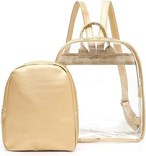Pusaman Cute Transparent Plastic Transparent Female Students Backpack Schoolbag Travel Bag School Bag (Color : Gold)
