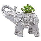 TERESA'S COLLECTIONS Elefant Gartenfigur für Außen LED Solarleuchte mit Künstliche Sukkulenten Pflanzen 24.5cm Gartenleuchte aus Kunstharz Wetterfest Gartendeko Figur für Hof Balkon Terrasse