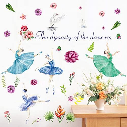 Pegatinas De Pared Para Niñas De Baile De Ballet Dibujos Animados Creativos Dibujados A Mano Flores De Niña De Ballet Niños Niñas Habitaciones Calcomanías De Baile