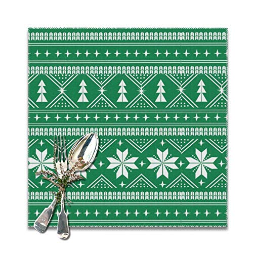Lou Chapman Nordic Christmas Minimal Sweater Giftwrap Holiday Green Placemats for Dining Table Set of 6 Decorations Washable Xmas New Year Kitchen Holiday Table Placemat,12 x 12 inches