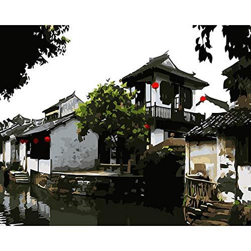 XIAOBAOZISZYH Paint by Numbers Kits Chinesische Altstadt 16×20 Inch Vorgedruckten Leinwand Mit Bürsten Und Acryl Pigment-Wooden Frame