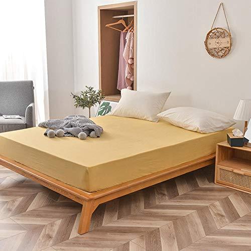 FJMLAY Sábanas bajeras de algodón Lavado, Protector de colchón Antideslizante para Dormitorio Apartment-Yellow_1_120cmx200cm