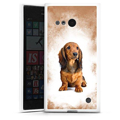 DeinDesign Silikon Hülle kompatibel mit Nokia Lumia 730 Hülle weiß Handyhülle Dackel H& Haustier