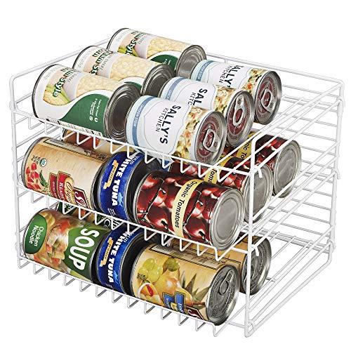 Smart Design Premium 3 Tier Can Rack Organizer w/ Adjustable Shelves - Steel Wire Frame - for Cans, Jars, & Cooking Ingredients Organization - Kitchen (14.5 x 10.25 Inch) [White]
