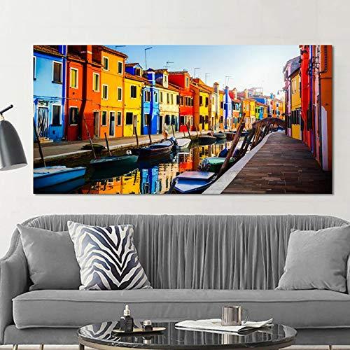 """Venecia Water City View Canvas Art Posters and Prints Arte de la pared Pintura en lienzo Paisaje urbano Barcos Imagen Decoración para sala de estar 60x120cm (23""""x47"""") Sin marco"""