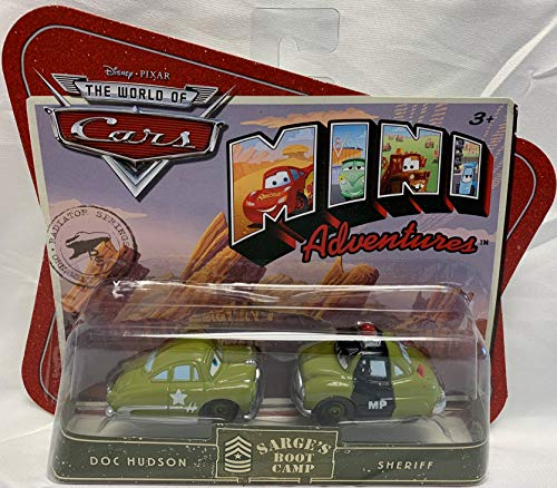 Disney Pixar Cars Mini Adventures Sarge's Boot Camp Doc Hudson & Sheriff Car Set