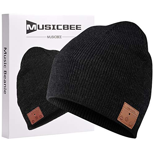 Bluetooth Beanie, MUSICBEE Bluetooth V5.0 Wireless Knit Winter Hats Cap with Detachable Built-in Mic and HD Stereo Speakers,Fleece Lining Suits for Outdoors Family & Gift-Unisex (Black)