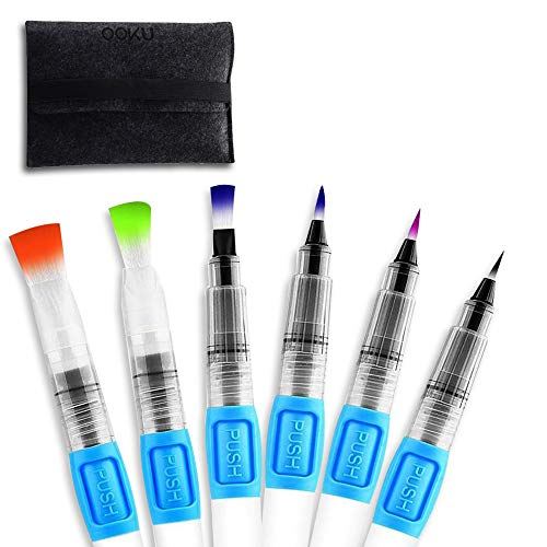OOKU Watercolor Brush Pens 6 Pcs - Self-Moistening | Refillable Water Brush Pen for Coloring Painting Calligraphy Lettering | Watercolor Pens - Broad & Detail Nylon Tip | Artist Paint Brush Pens