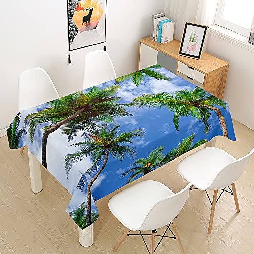 Morbuy Manteles de Mesa Impermeable Antimanchas Rectangular Lavable Manteles de Poliéster Patrón Tropical para Cocina Comedor Decoración del Hogar (árbol de Coco,100x140cm)