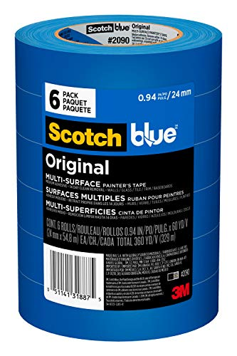 "Scotch Painter's Tape 2090-24EP6 ScotchBlue Original Multi-Surface Painter's Tape 2090-24EVP.94 in x 60 yd (360 yards total), 6 Rolls, 0.94"" Width, Blue, 6 Pack"