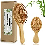 2Pcs Bamboo Hair Brushes Set With Paddle Detangling Brush and Mini Travel Size Brush Natural Wooden Hairbrush Massage Scalp Thick/Thin/Curly/Dry Hair For Women Men and Kids Gift kit