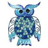 HONGLAND Metal Owl Wall Decor Blue Mosaic...